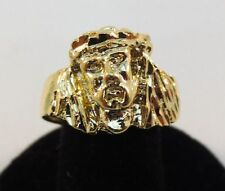 SIZE 9 MENS 14KT GOLD EP RELIGIOUS  JESUS FACE RING -J1