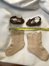 Antique Woven Doll Socks And Suede Shoes French German Bisque Dolls
