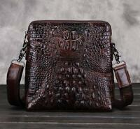 Men retro real Leather Briefcase Crocodile Shoulder Messenger handBag purse bag