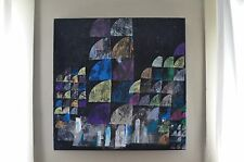 20x20 Mixed Media Art Collage Painting Original Modern Abstract Geometric EAO
