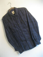 Lee Men's Blue Plaid RIDER Soft Brushed Flannel Cotton WESTERN STYLE Shirt | S M