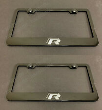 2x R LINE BLACK Stainless Metal License Plate Frame w/Screw Caps R-LINE