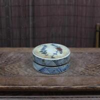 CHINESE OLD UNDERGLAZE BLUE AND RED FLOWER AND BIRD PATTERN PORCELAIN INKPAD BOX