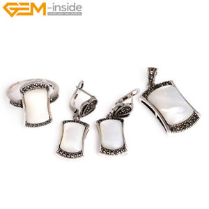 Assorted Stone Crystal Silver Marcasite Ring Earrings Pendant Jewelry Sets Gift