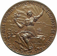 1897 SWITZERLAND Swiss Canton of VAUD Antique Independence Medal w WOMAN i76051