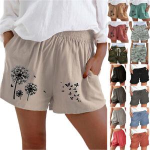 Womens Shorts Elastic Waist Beach Holiday Casual Comfort Sports Loose Hot Pants