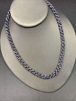 Vintage Necklace Bohemian seed bead round woven blue gray silver  16-18""