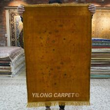 Yilong 2.25'x3.25' Golden Silk Area Rug Hand knotted Porch Indoor Carpet 155AB