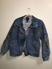 Vintage Weathered Blues Lined Jean / Denim Jacket with Appliques Womens Medium