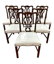 Vintage Chippendale Style Mahogany Shield Back Chairs Set of Six With Nailheads
