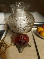 Vintage 3 Way Lighting Hurricane Gone with the Wind Lamp hobnail Glass Globe red