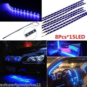 8Pcs Blue 15 LED 30CM Car Vehicles Grill Flexible Waterproof Light Strip SMD 12V