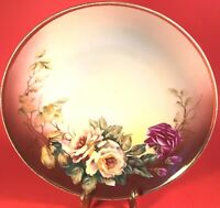 "NIPPON PLATE HAND PAINTED YELLOW ROSE GOLD TRIM ANTIQUE 9 1/8"" CROWN STAMP"