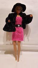 Puppenkleidung passend für Barbiepuppe Kleid,Jacke,Tasche + Hut Handarbeit 6319