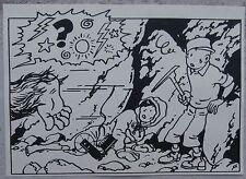 Hergé Tintin au Tibet agrandissement 18X25  Case 8 Planche 58 Superbe !