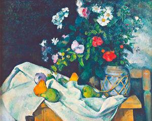Fleurs dans un pot de Gingembre et Fruits by Paul Cezanne A2+ Art Print