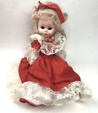 """Vintage 70's Furga Italy Doll Red Victorian Lace Dress Blonde Curly Hair 17"""""""