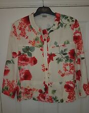 cream floral print jacket summer arty artsy quirky hippie size 14