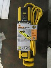 SHOPLOGIC 6 OUTLET SURGE STRIP WITH SWIVEL HANDLE - 1400 JOULES - YELLOW