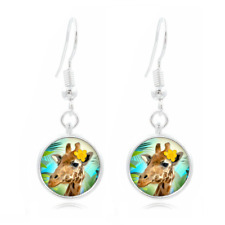 Tropical Giraffe glass Frea Earrings Art Photo Tibet silver Earring Jewelry #260
