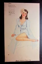 """Vintage March 1942 sexy risque pin-up calendar page by Vargas  8"""" x 13"""""""