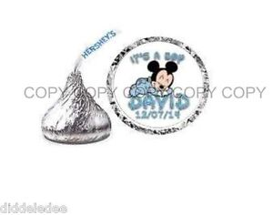 Mickey Mouse Baby Shower Hershey Kiss Label Sticker Favors Personalize