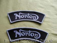 2 NORTON STOFF AUFNÄHER KENNZEICHEN silber und  schwarz Hergestellt in England