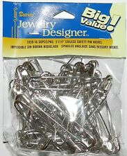 "SP121d Silver 2-1/4"" Coiless French Safety Pin For Beads, Crafts & Jewelry 50pc"