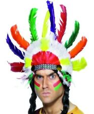 Indian Chief Fancy Dress Feather Headdress Head Dress Sitting Bull New by Smiffy