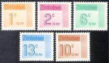 Zimbabwe 1985 To Pay/Postage Due 5v set (n33723)
