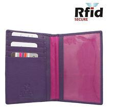 RFID Passport Wallet Mala Leather Travel Document & Card Holder Purple 214
