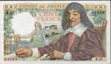 100 francs DESCARTES,émis le 15.5.1942,Fay 27/1,prem.date;SUP à SPL