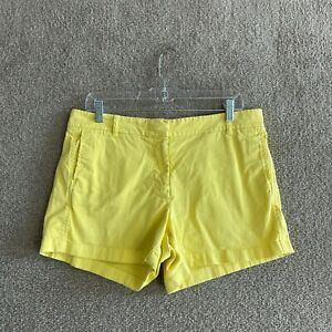 """J.Crew Chino Shorts Womens Size 10 Yellow 4"""" Inseam Stretch High Rise Casual"""