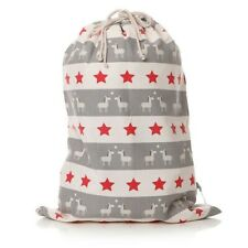 Christmas Present Sack 50x80cm Donkey Stars Grey Red Large Stocking #47259