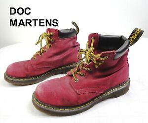 RARE Dr Doc Martens DEEP RED 6-eye Greasy Suede Boots 939 Mens Sz 7 Womens Sz 8