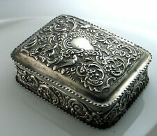 Antique Victorian Sterling Silver Repousse Birds Foliate Box Hinged London 1892