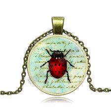 Vintage Spider Cabochon Photo Bronze Glass Chain Pendant Necklace BA072