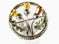Vintage Citrine Paste Silver Tone Scottish THISTLE Mizpah Brooch PIN GIFT BOXED