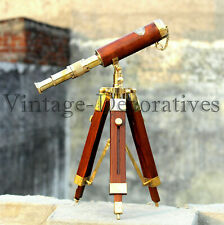 Nautical Vintage Brass Handmade Pirate Marine Leather Telescope W/ Wooden Tripod