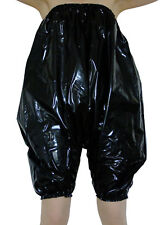 Shiny Black PVC Pants Bloomers Sissy Play Suit Plastic Romper All-in-One XL XXL
