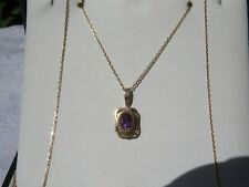 VINTAGE 9CARAT GOLD AMETHYST SET PENDANT AND 9 CT GOLD CHAIN EXCELLENT CONDITION