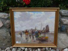 Bruno Jüttner Öl Gemälde Fischermarkt an der Nordsee