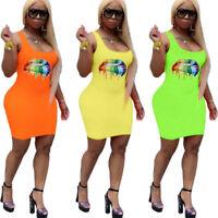New Women Colorful Lip Print Scoop Neck Sleeveless Casual Summer Club Mini Dress