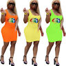 New Women Colorful Lip Print Scoop Neck Sleeveless Casual Summer Club Mini Dress