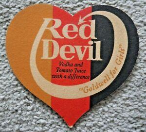 VINTAGE GOLDWELL FOR GIRLS RED DEVIL VODKA & TOMATO JUICE BEER MAT 1970's  J980