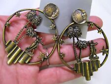 Vtg New Bronze Art Deco Nouveau Moon Over Miami Well Made Pierced Earrings 80's