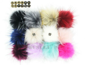 12X Faux Raccoon Fur Pompom with Snap Press Button Detachable for Hat Knit Craft