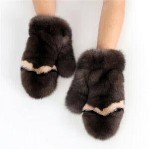 Luxury Real Sable Fur Women's Winter Warm Gloves Mink Fur Mittens hand warmer