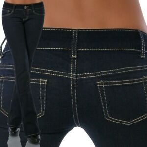 Damen Bootcut Jeans Hose Hüftjeans Hüfthose Schlag Hüfthosen Low Rise Stretch
