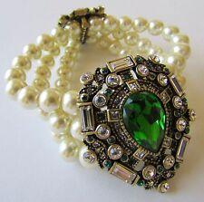 "Heidi Daus ""DAZZLING DECADE"" Stretch Bracelet Emerald Pearls M/L $149.95"
